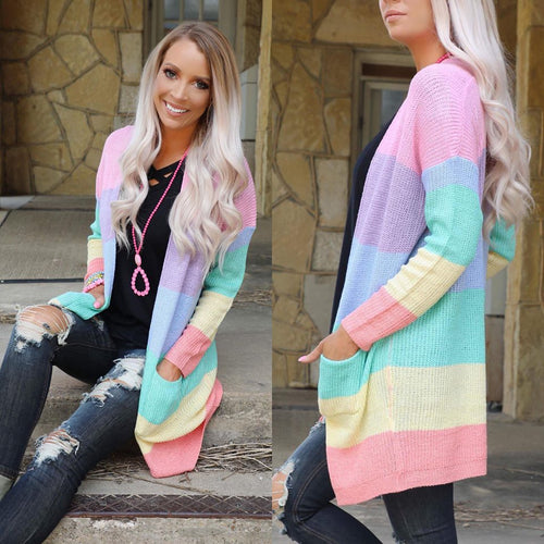 Pretty Pastels Rainbow Cardigan Sweater