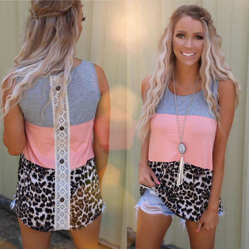Grey, Peach and Leopard Tank Top