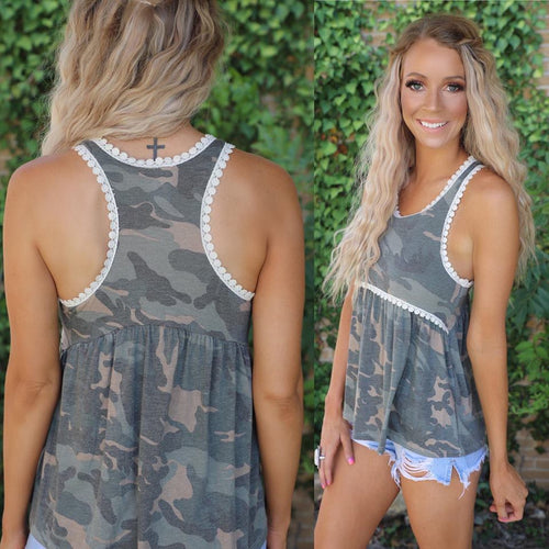 Racer Back Camo Baby Doll Tank Top