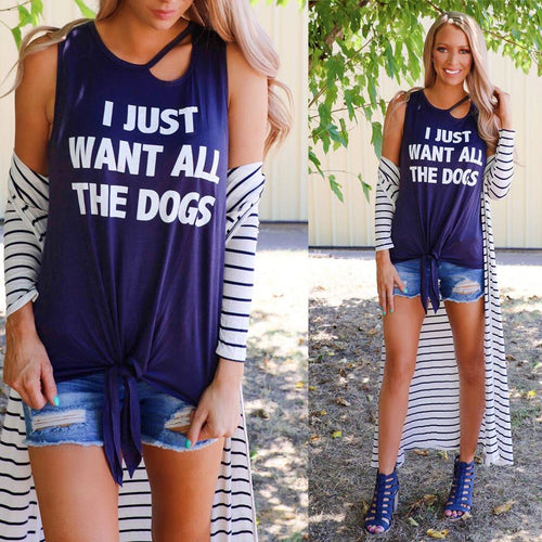 "Dark Grey ""I just want all the Dogs"" Keyhole Tank Top"
