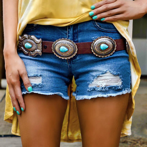 Bayside Brown Turquoise Concho Belt