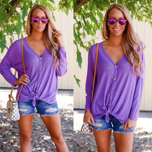 Purple Thermal Knit Button Down Sweater