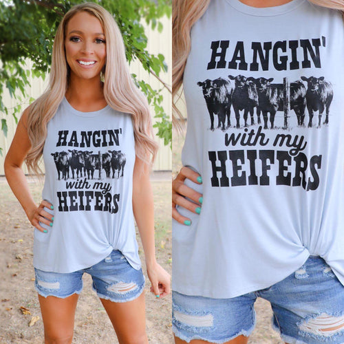 """Hangin with my Heifers"" Light Blue Tank Top"