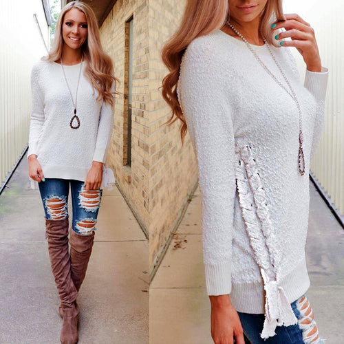 Ivory Side-Laced Sweater