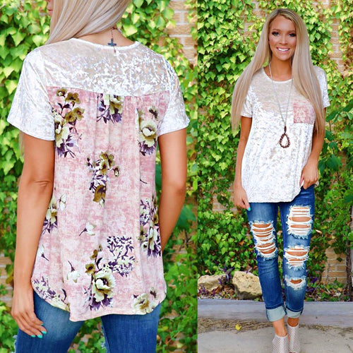 Crushed Velvet Floral and Taupe Tee