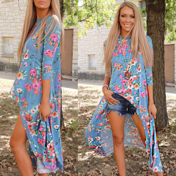 Stone Blue Floral Hi-Low Tunic