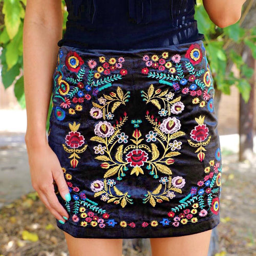 High Waist Black Velvet Embroidered Skirt