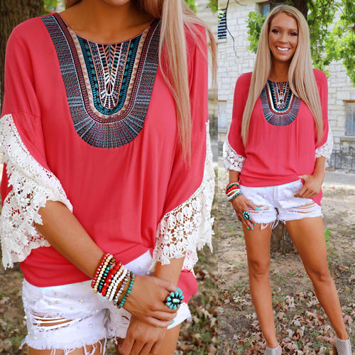 Creative Coral Embroidered Neck Crochet Sleeve Top