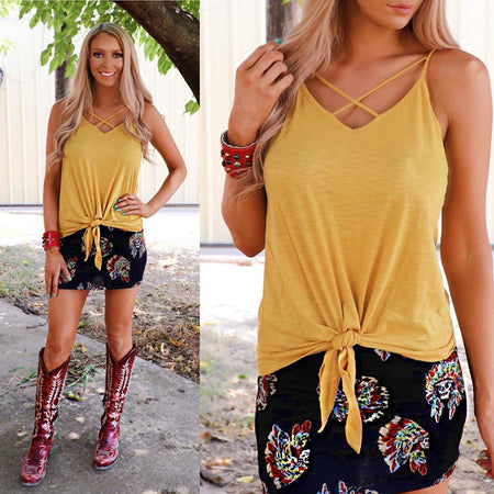 Yosemite Yellow Embroidered Off Shoulder Top