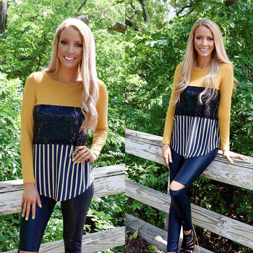 Audra Mustard, Black Sequin and Stripes Long Sleeve Top