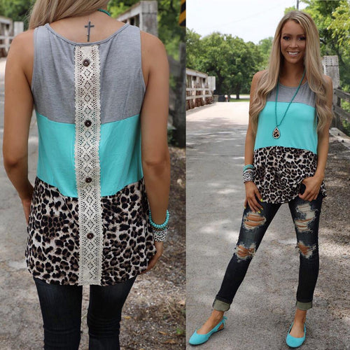 Grey, Turquoise and Leopard Tank Top