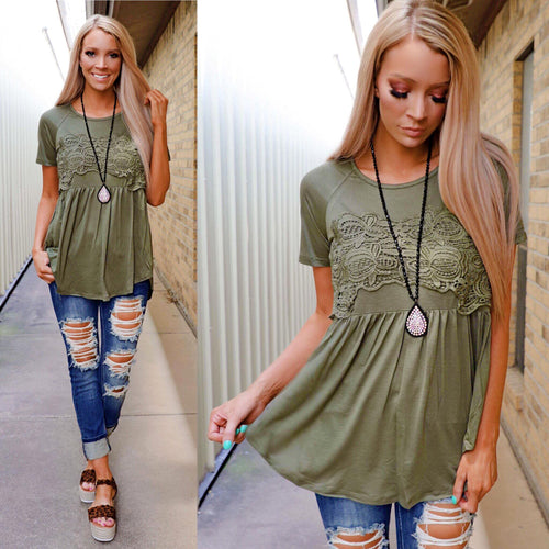 Light Olive Babydoll Crochet Detail Tee