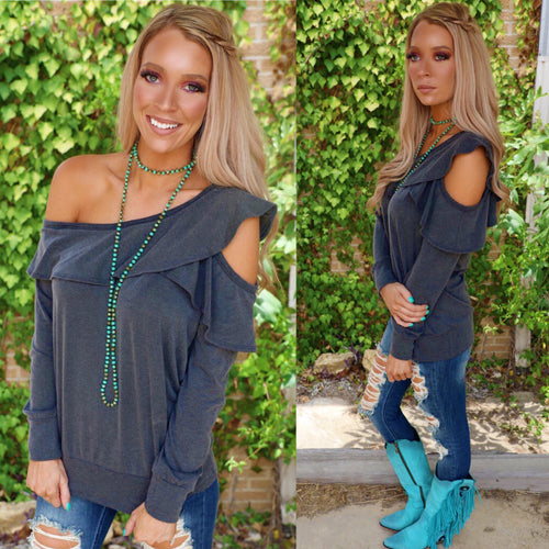 Charcoal Ruffled One Shoulder Long Sleeve Top