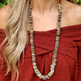 Tan and Rust Free Form Rondell Necklace