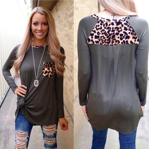 Ozma Olive Leopard Pocket and Shoulder Detail Tunic