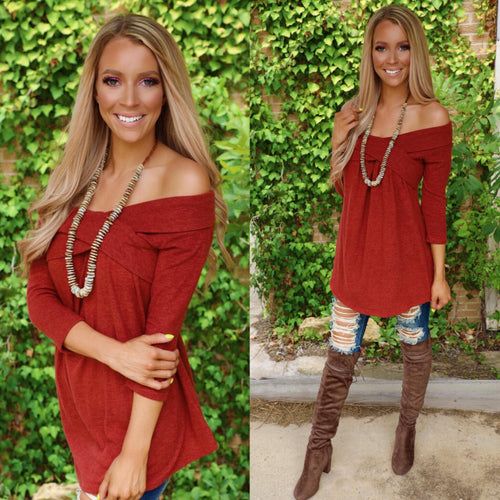 Rust Crossed Detail Off Shoulder Tunic