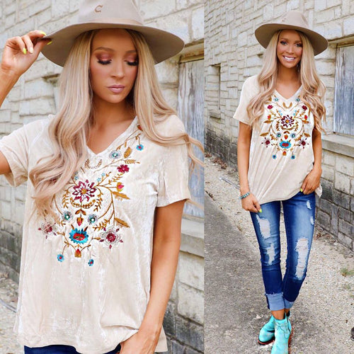 Beige Velvet Embroidered Tee