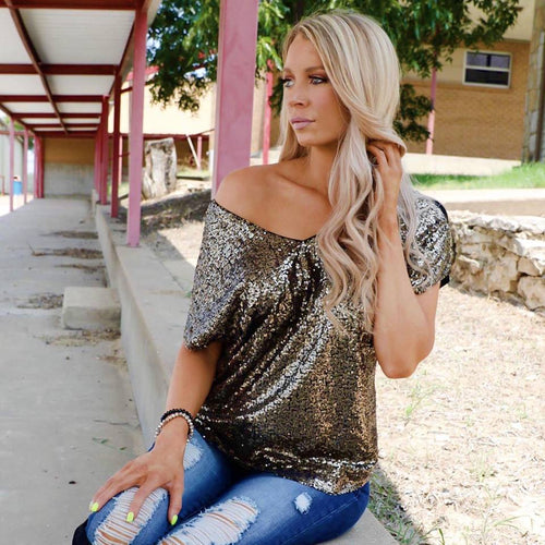 Struck Gold Drop Shoulder Tee - The Lace Cactus