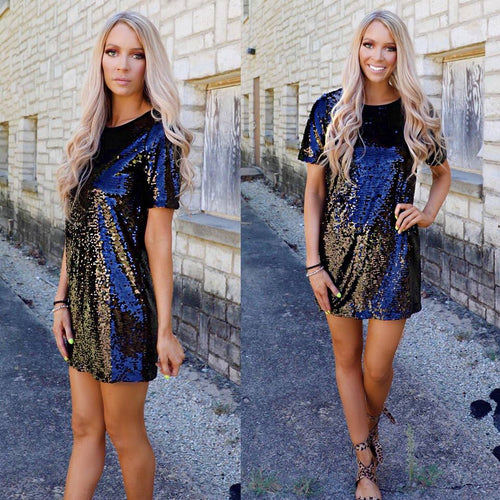 Little Black Sequin Party Dress