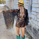 Nicks Black Lace Bat Sleeve Romper