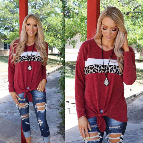 Burgundy Angora Leopard Stripe Long Sleeve Top