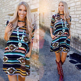 Dark Serape Aztec Keyhole Choker Pocket Dress