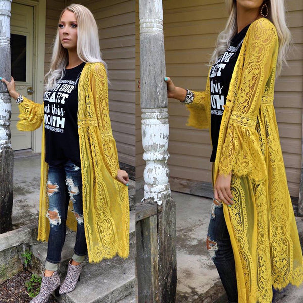 Mustard Lace Flared Sleeve Duster