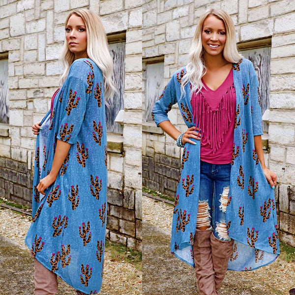 Denim Blue Leopard Cactus Duster