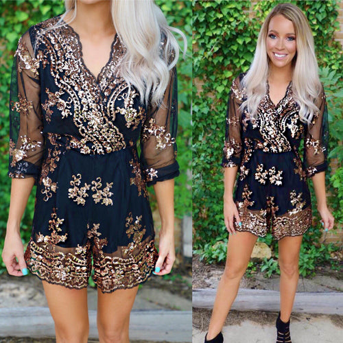 Black and Gold Mirage Sequin Romper