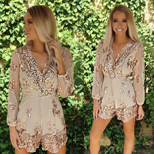 Rose Gold Mirage Sequin Romper