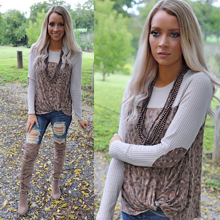 Olive and Taupe Sequin Pocket Floral Hoodie