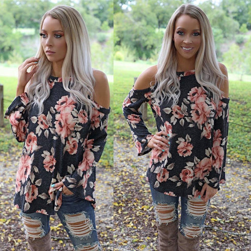 Giada Gray Floral Flare Sleeve Top