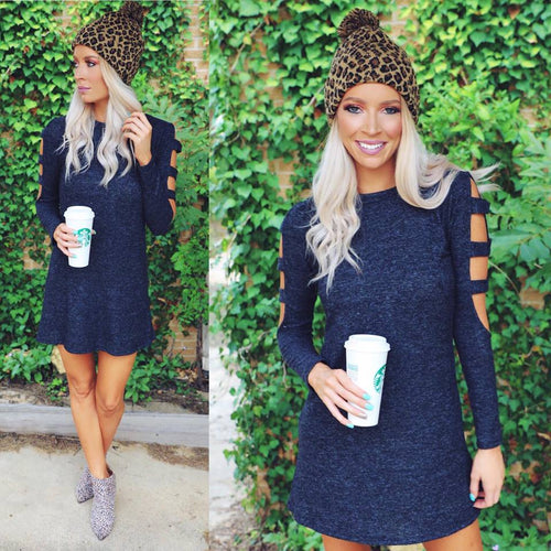 Charcoal Ladder Sleeve Sweater Dress