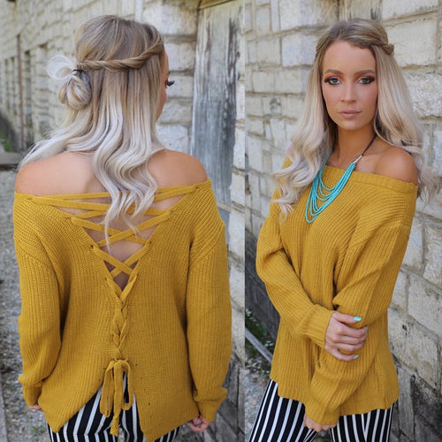Miley Ann Mustard Lace-up Back Sweater