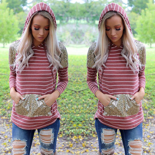 Rust Striped Sequin Pocket Hoodie