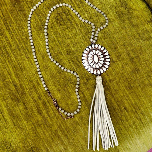 Copper and Natural Stone Concho Tassel Necklace