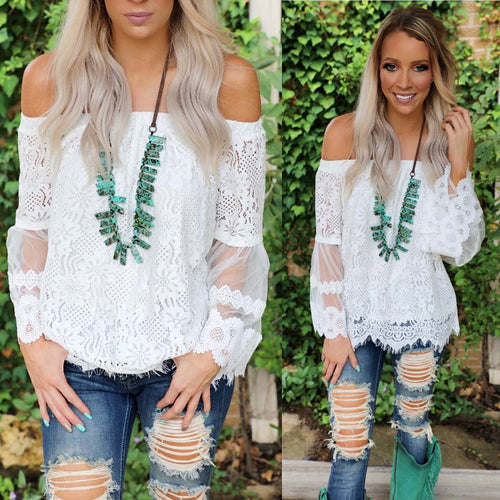 White Charm Off Shoulder Lace Belle Sleeve Top