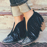 Black and Glitter Suede Fringe Booties