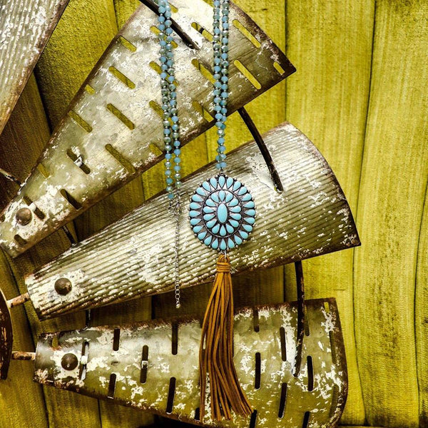 Turquoise Glass Beaded Concho Tassel Necklace - The Lace Cactus