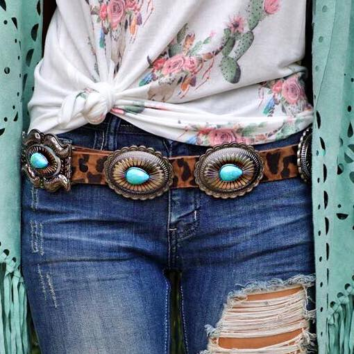 Ladonia Leopard Turquoise Concho Belt