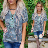 Camo Lace up Neck Tee