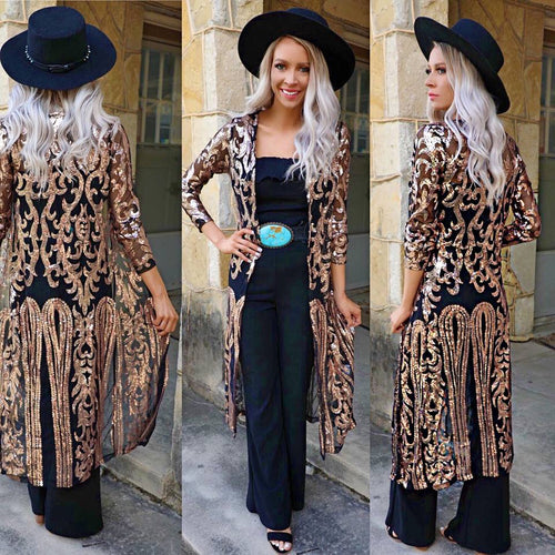 Beyonce Gold and Black Sequin Duster