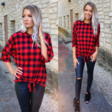 Red Plaid Checkered Dolmen Tie Front Top