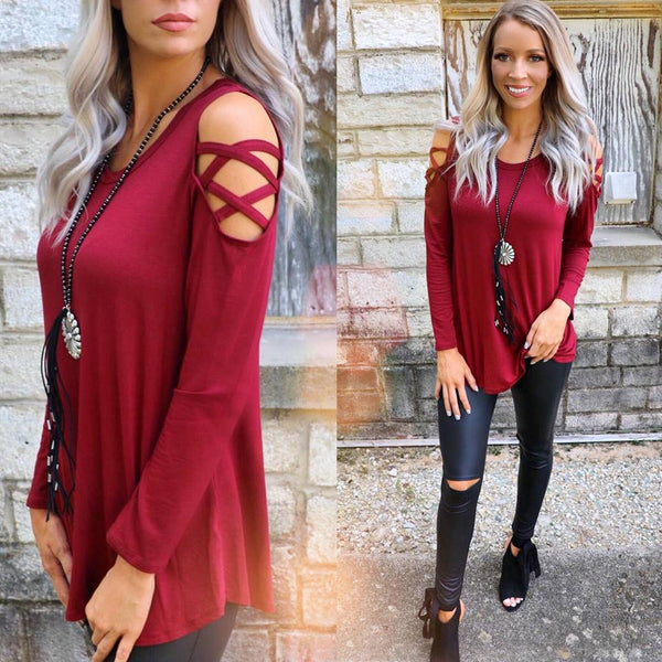 Maroon Strappy Cold Shoulder Tunic