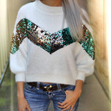 Willard White Sequin Detail Sweater Top