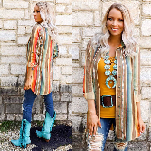 High Noon Serape Button Front Tunic