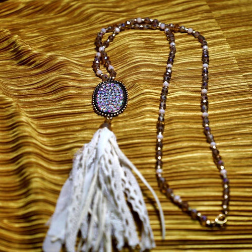 Shades of Brown Beaded Bling Tassel Necklace