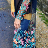Black Sheer Floral Fringe Duster