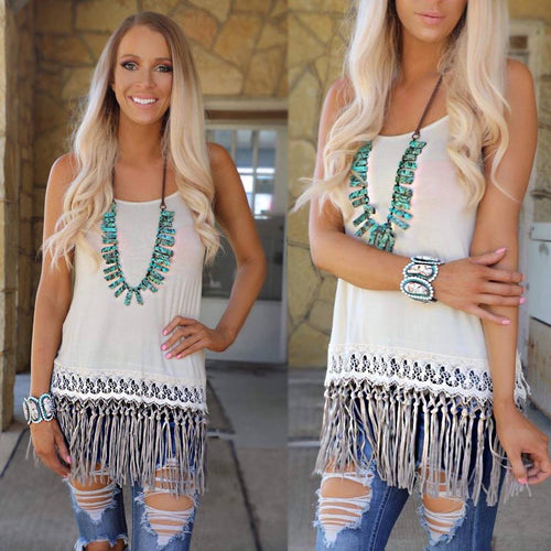 Beige and Taupe Fringed Tank Top