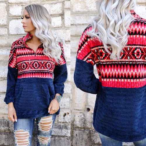 Navy and Red Aztec Half-Zip Pullover